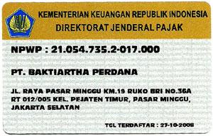 nomor NPWP PT Baktiartha Perdana